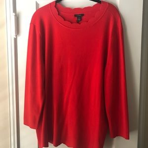BNWT Halogen scalloped sweater, red, XXL